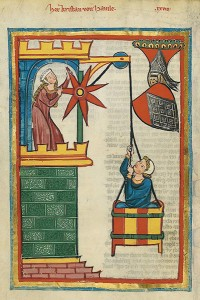 codex manesse Kristan of Hamle medieval Lovers, pulled in a basket
